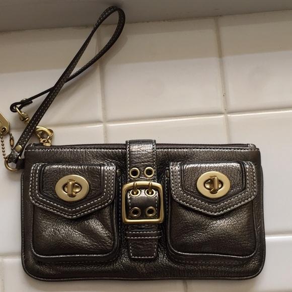 Coach Handbags - Coach double pocket metallic bronze wristlet
